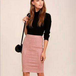 Lulus Superpower Blush Suede Pencil Skirt